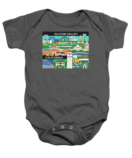 Silicon Valley California Horizontal Scene - Collage Baby Onesie