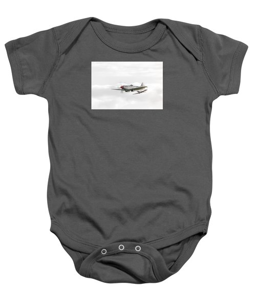 Silver Spitfire In A Cloudy Sky Baby Onesie by Gary Eason