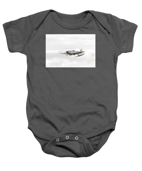 Silver Spitfire In A Cloudy Sky Baby Onesie