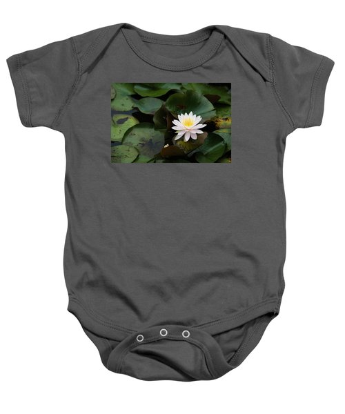 Single White Pristine Lotus Lily Baby Onesie