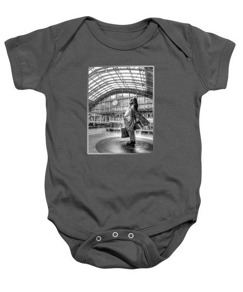 Sir John Betjeman Statue And Clock At St Pancras Station In Black And White Baby Onesie
