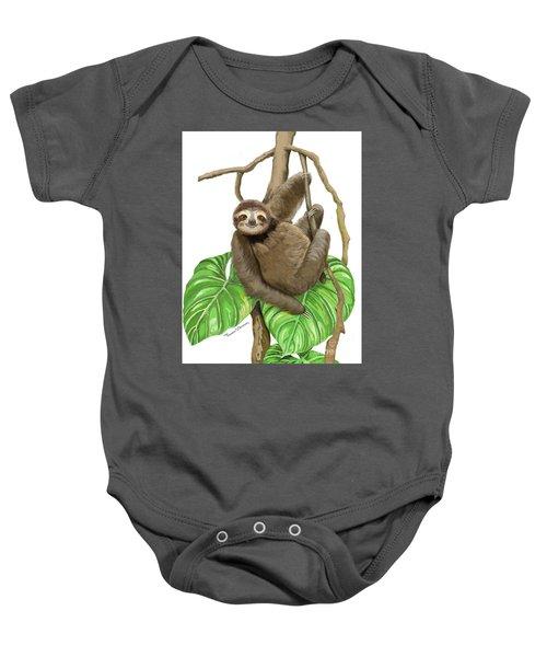Hanging Three Toe Sloth  Baby Onesie
