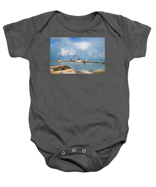 Small Dock With Boats Baby Onesie