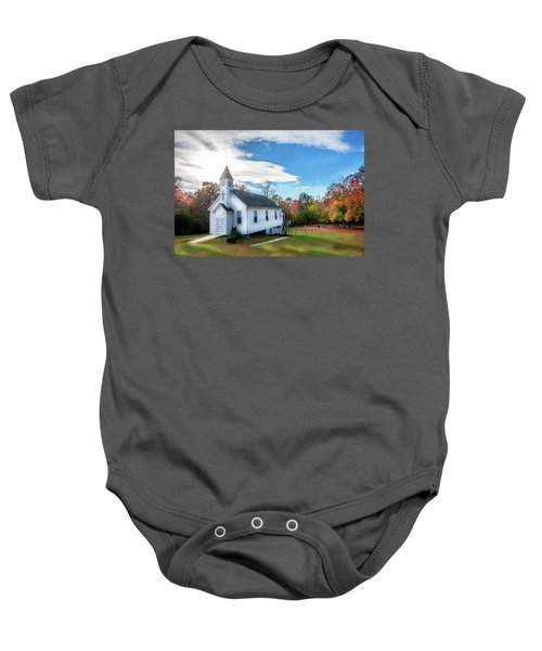Small Wooden Church In The Countryside During Autumn Baby Onesie