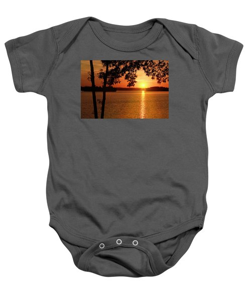 Smith Mountain Lake Silhouette Sunset Baby Onesie