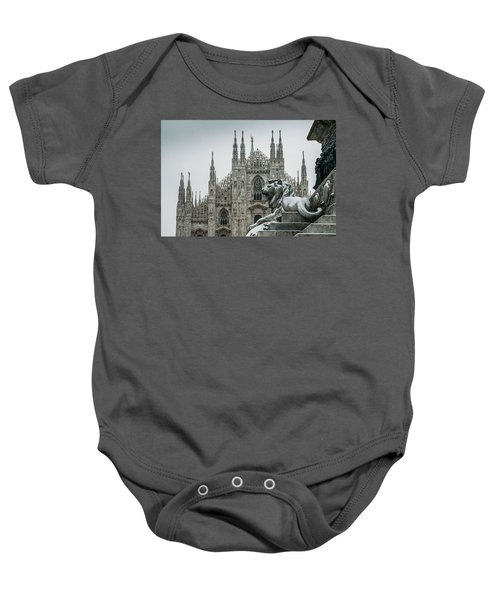 Snow At Milan's Duomo Cathedral  Baby Onesie