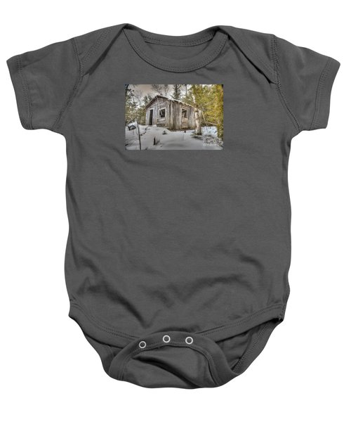 Snow Covered Abandon Cabin Baby Onesie