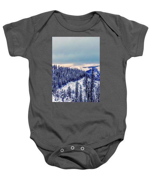 Snow Covered Mountains Baby Onesie