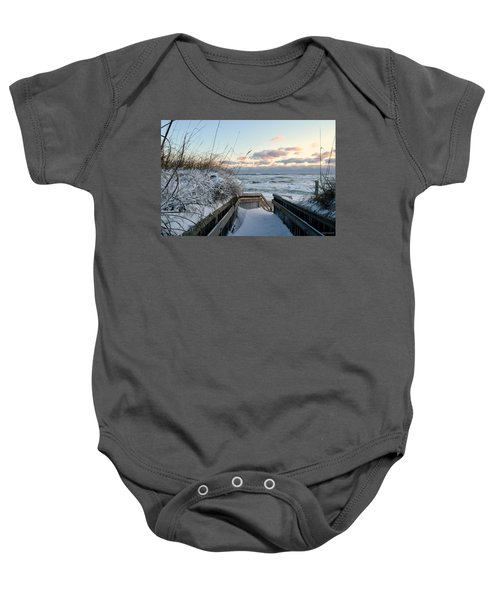 Snow Day At The Beach Baby Onesie