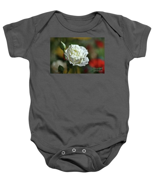 Baby Onesie featuring the photograph Snow White by Stephen Mitchell