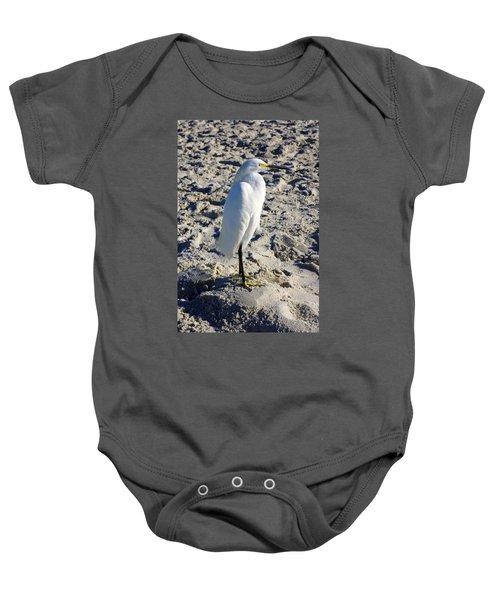 Snowy Egret At Naples, Fl Beach Baby Onesie