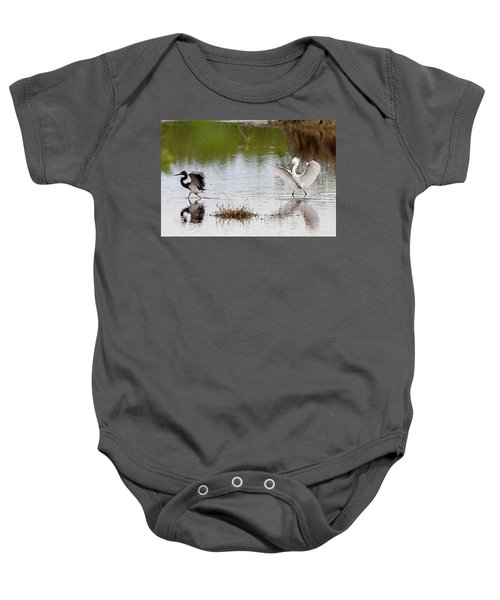 Snowy Egret Chasing Other Bird Out Of Feeding Area Baby Onesie
