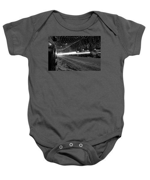 Snowy Night Light Trails Baby Onesie