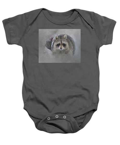 Snowy Raccoon Baby Onesie