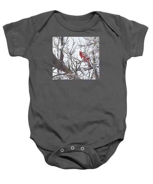 Snowy Red Bird A Cardinal In Winter Baby Onesie