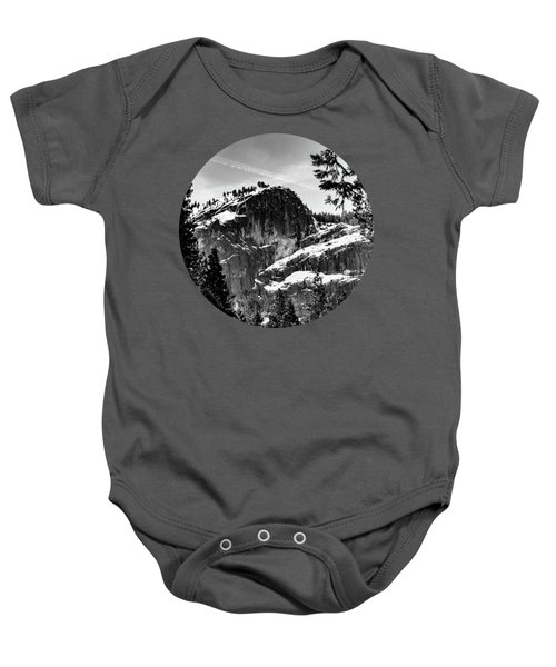 Snowy Sentinel, Black And White Baby Onesie by Adam Morsa