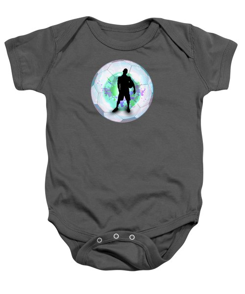 Soccer Player Posing With Ball Soccer Background Baby Onesie by Elaine Plesser