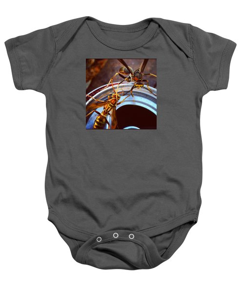 Soda Pop Bandits, Two Wasps On A Pop Can  Baby Onesie