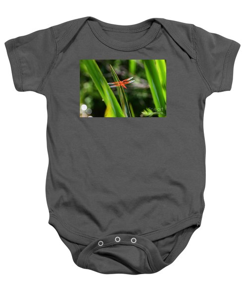Sparkling Red Dragonfly Baby Onesie