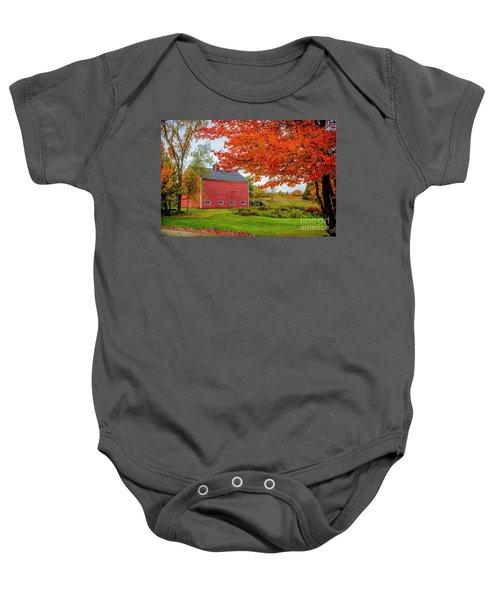 Splendid Red Barn In The Fall Baby Onesie