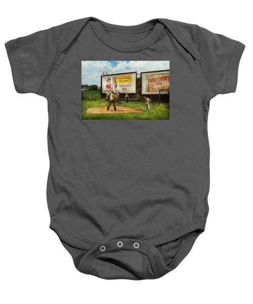 Sport - Baseball - America's Past Time 1943 Baby Onesie by Mike Savad