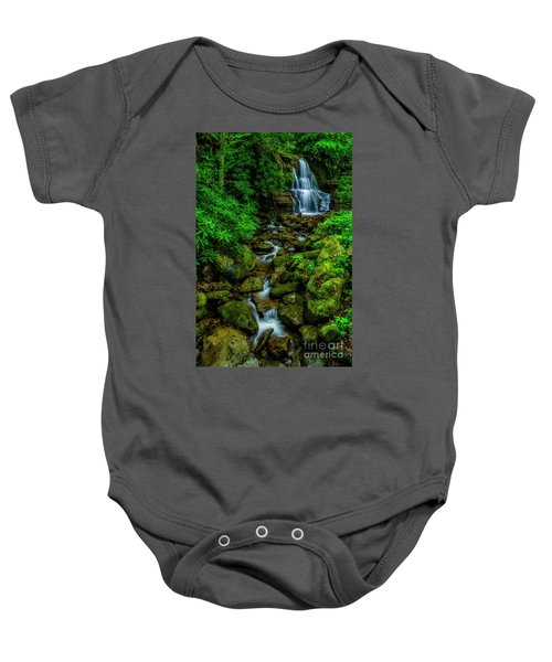 Spring Green Waterfall And Rhododendron Baby Onesie