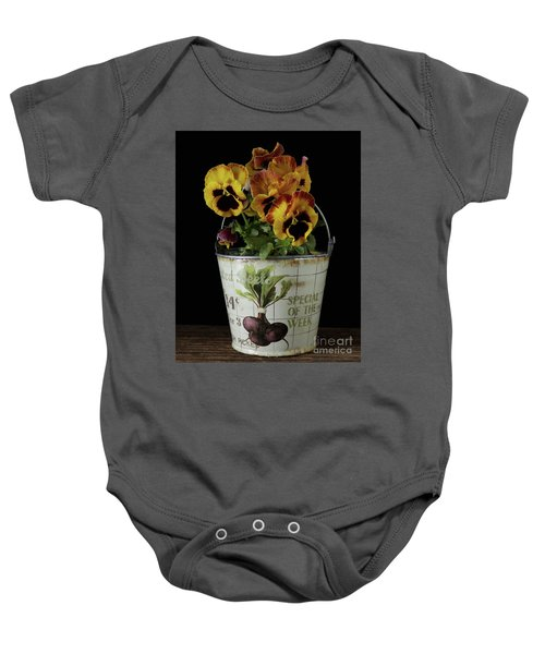 Spring Pansy Flowers In A Pail Baby Onesie