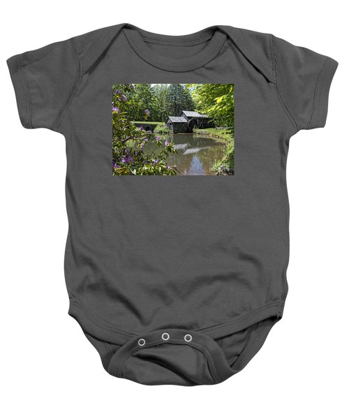 Spring Reflections Of An Ancient Mill Baby Onesie