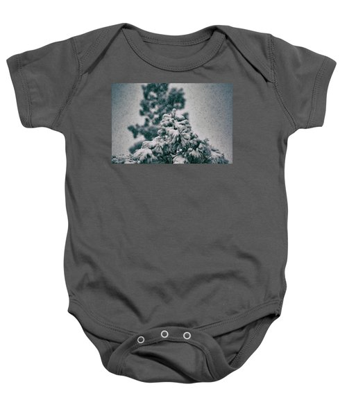 Spring Snowstorm On The Treetops Baby Onesie