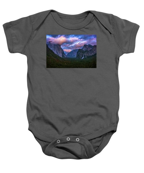 Spring Sunset At Yosemite's Tunnel View Baby Onesie