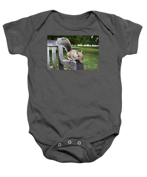 Squirrel Bench Baby Onesie