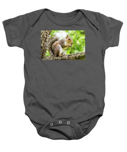 Squirrel Eating On A Branch Baby Onesie