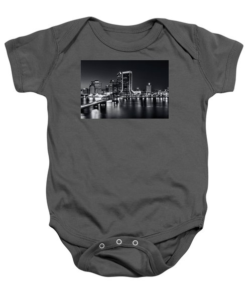 St Johns River Skyline By Night, Jacksonville, Florida In Black And White Baby Onesie