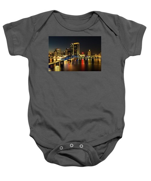 St Johns River Skyline By Night, Jacksonville, Florida Baby Onesie