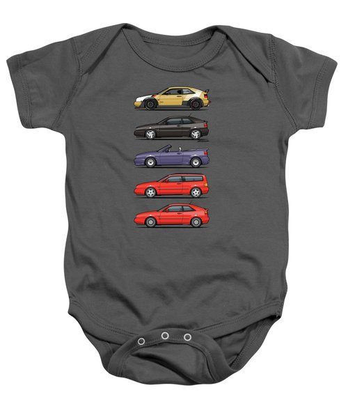 Stack Of Vw Corrados Baby Onesie