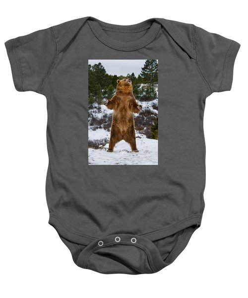 Standing Grizzly Bear Baby Onesie