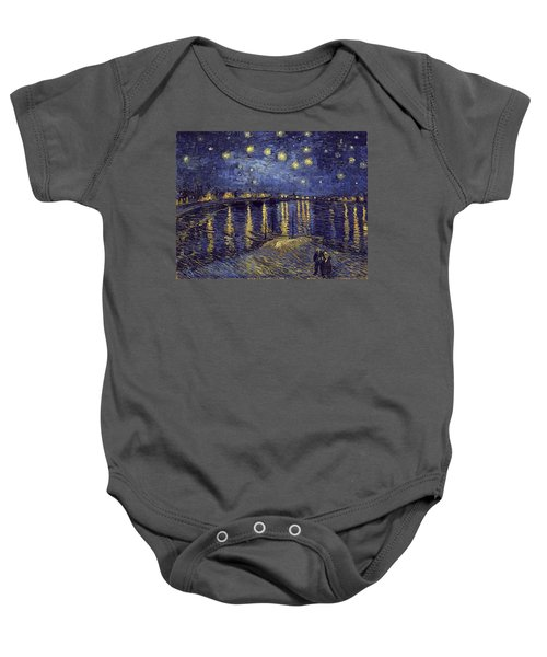 Baby Onesie featuring the painting Starry Night Over The Rhone by Van Gogh