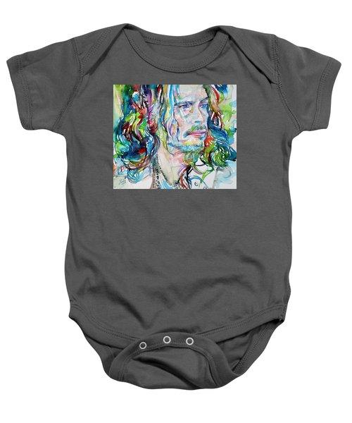 Steven Tyler - Watercolor Portrait Baby Onesie