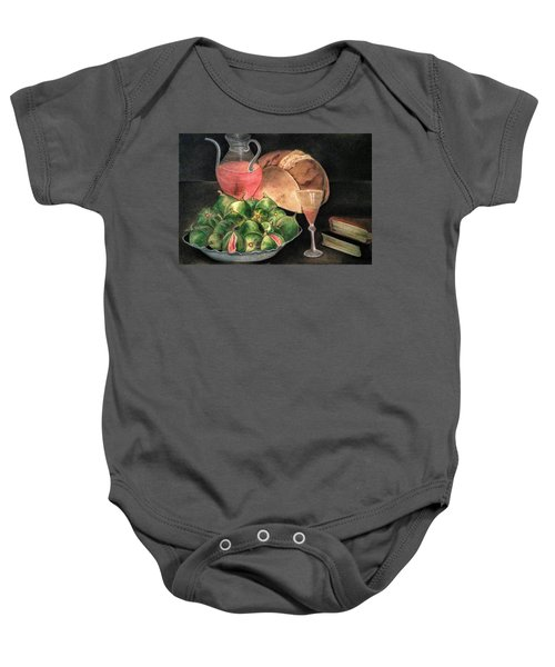 Still Life Of Figs, Wine, Bread And Books Baby Onesie