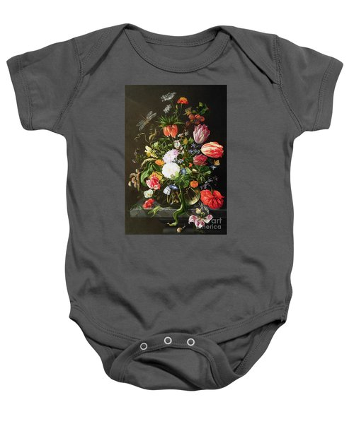 Still Life Of Flowers Baby Onesie by Jan Davidsz de Heem