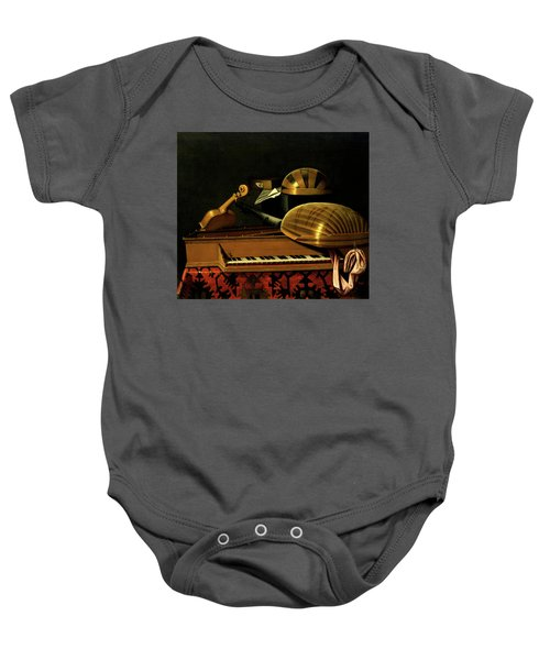 Still Life With Musical Instruments And Books Baby Onesie
