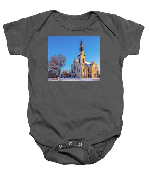 Stone Chapel In Winter Baby Onesie