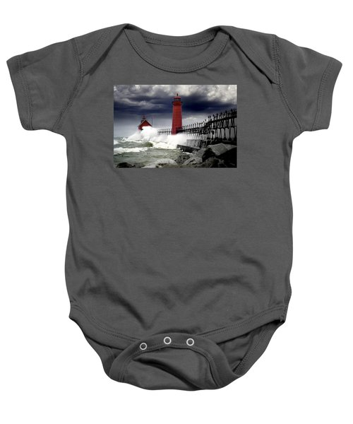 Storm At The Grand Haven Lighthouse Baby Onesie