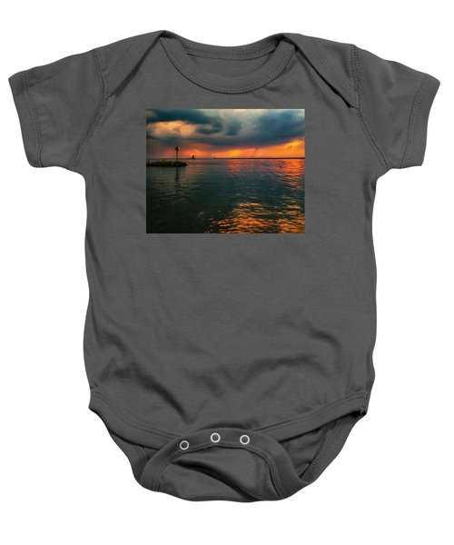 Storm In Lorain Ohio At The Lighthouse Baby Onesie