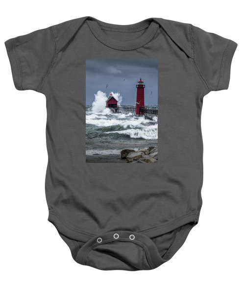 Storm On Lake Michigan By The Grand Haven Lighthouse With Flying Gulls Baby Onesie