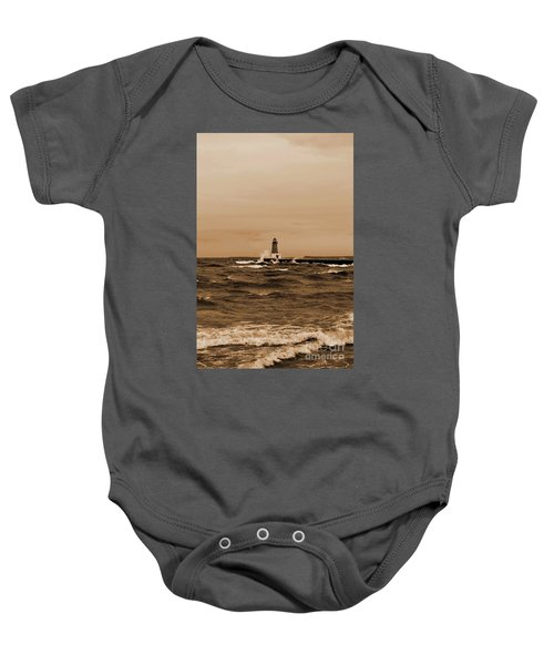 Storm Sandy Effects Menominee Lighthouse Sepia Baby Onesie