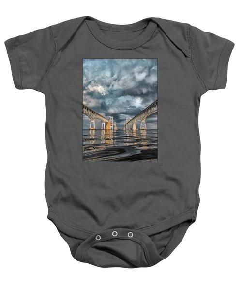Stormy Chesapeake Bay Bridge Baby Onesie
