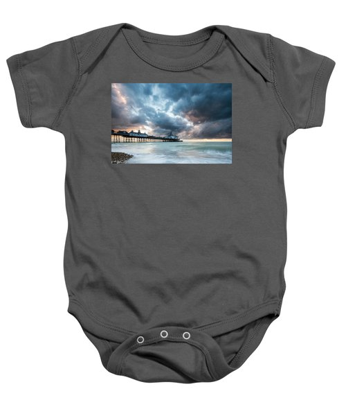 Stormy Sunrise Over Eastbourne Pier Baby Onesie