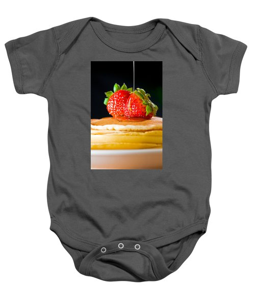 Strawberry Butter Pancake With Honey Maple Sirup Flowing Down Baby Onesie