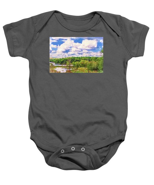 Striking Clouds Above Small Water Inlet And Green Trees Baby Onesie